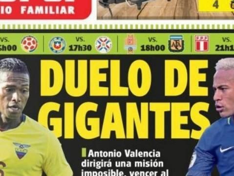 Jornal chama confronto Brasil x Equador de 'duelo de gigantes'