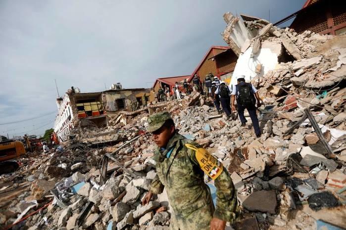 Na madrugada desta sexta-feira um terremoto de 8,2 graus atingiu a costa do Pacifico, no México, segundo as autoridades locais pelo menos 90 pessoas foram mortas (Crédito: AFP)