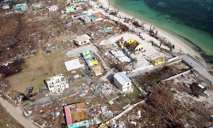 Imagem aérea mostra devastação em Tortola, nas Ilhas Virgens Britânicas, após furacão Irma (Crédito: Reuters)