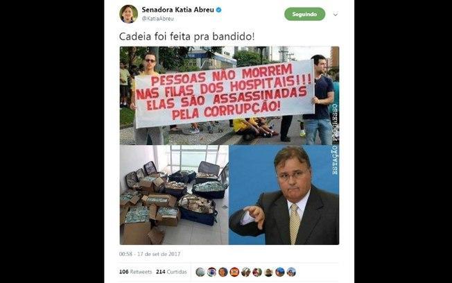 """""""Cadeia foi feita para bandido"""", disse a senadora Katia Abreu sobre o colega Geddel Vieira Lima   (Crédito: Reprodução/Twitter)"""