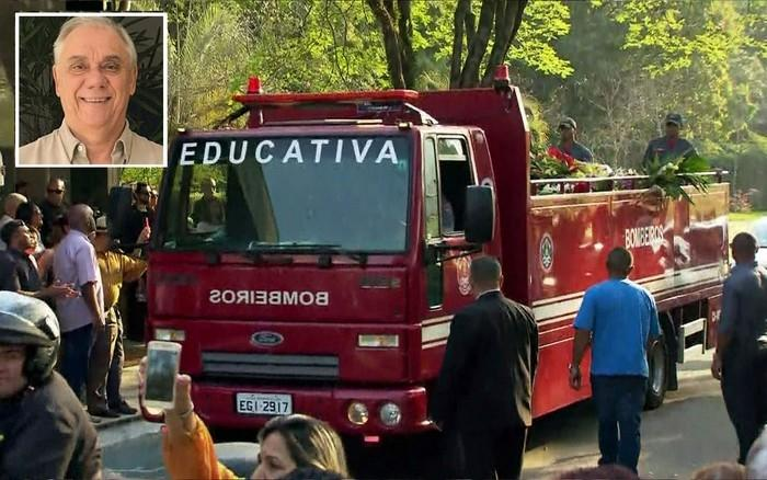 Corpo de Marcelo Rezende foi levado de caminhão dos Bombeiros ao Cemitério de Congonhas (Crédito: Globonews/Reprodução)