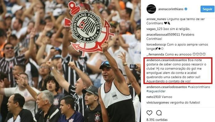 Torcedor do Corinthians se oferece para ressarcir o clube (Crédito: Reprodução)