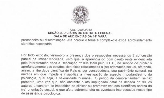 Trecho da dcisão do juiz federal do Distrito Federal (Crédito: Reprodução/Agência O Globo)