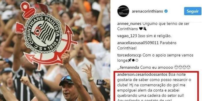 Torcedor procura o Corinthians para pagar por cadeira que quebrou