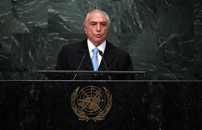 Michel Temer na ONU (Crédito: Jewel Sawad/AFP))