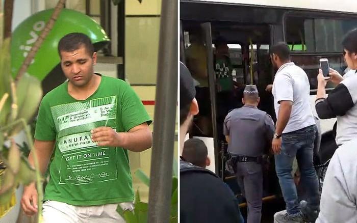 Montagem mostra homem que ejaculou em mulher deixando delegacia e o momento em que ele ficou preso dentro do ônibus (Crédito: G1)