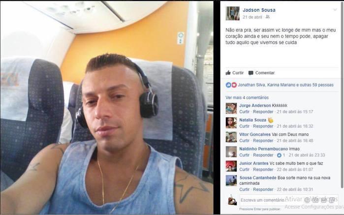 Perfil  de Jadson Melo de Sousa nas redes sociais (Crédito: Reprodução)
