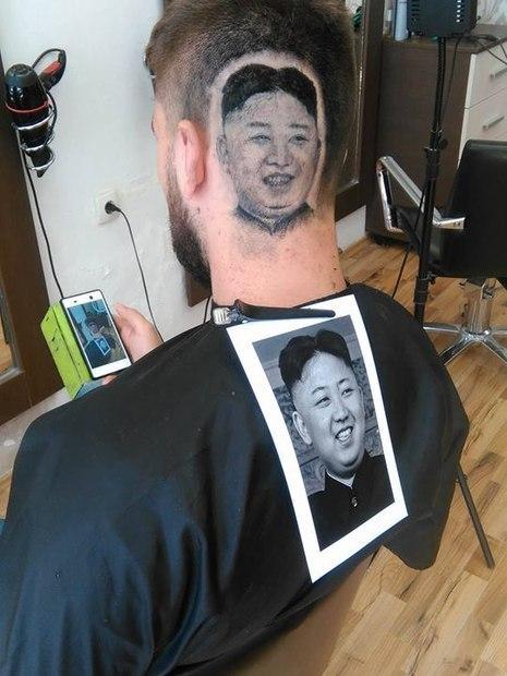 Corte de cabelo com rosto do presidente norte-coreano choca (Crédito: Facebook)