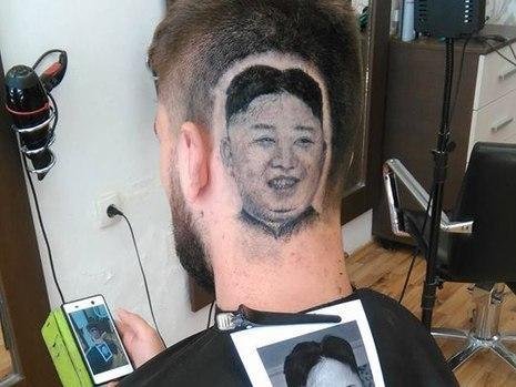 Barbeiro cria corte de cabelo com rosto do presidente norte-coreano