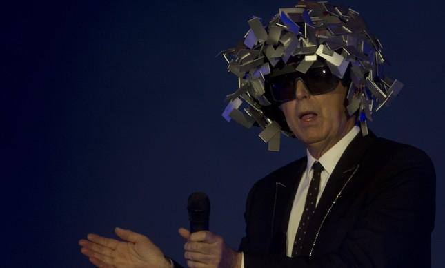 Neil Tennant, dos Pet Shop Boys, durante a apresentação no Rock in Rio