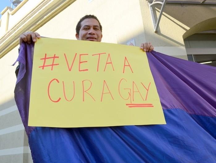"Manifestante de Piracicaba pede veto à ""Cura Gay"" (Crédito: Fernanda Zanetti/G1)"