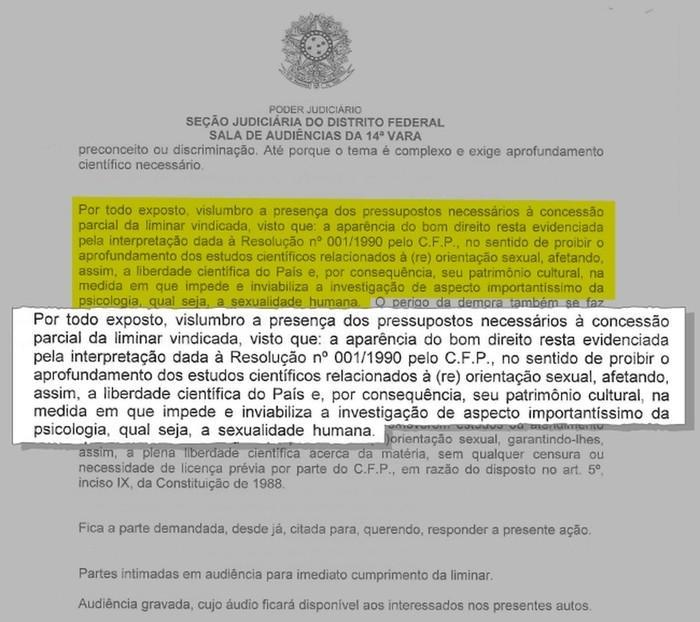Trecho de ata de audiência em que juiz liberou tratamento da homossexualidade como doença (Crédito: Reprodução/Justiça Federal do DF)