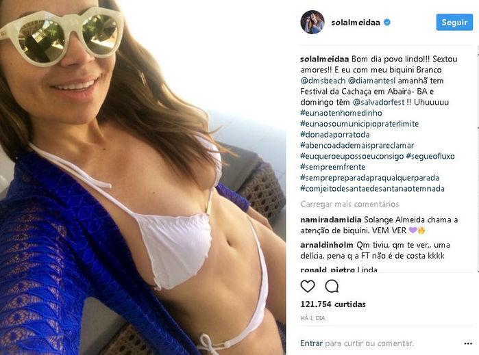 Solange Almeida posta foto no Instagram (Crédito: Reprodução)