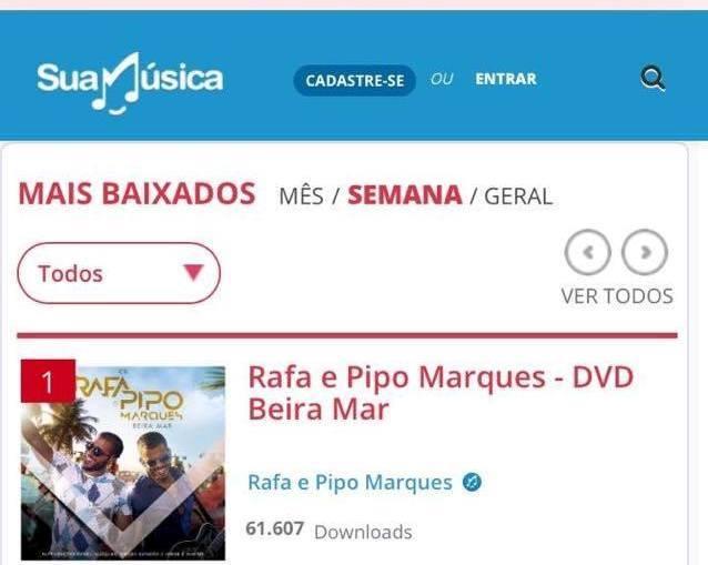 """O álbum """"Beira Mar"""" foi o arquivo mais baixado da semana (Crédito: Suamusica)"""