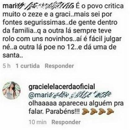 Graciele Lacerda alfineta Zilu, ex esposa de Zezé em rede social