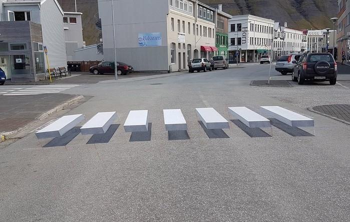 Faixa de pedestre pinta em 3D na Islândia (Crédito: Facebook/Vegamálun GÍH)