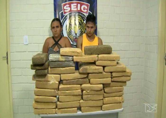 Casal preso com drogas no Maranhão (Crédito: TV Mirante)