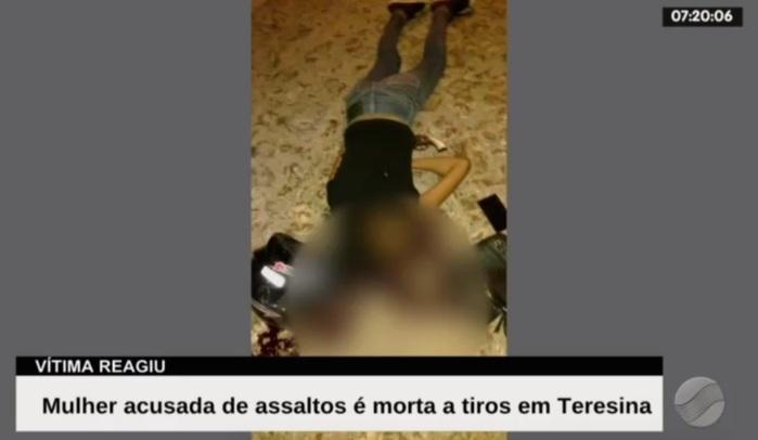 Mulher foi morta durante assalto (Crédito: Reprodução/TV Meio Norte)