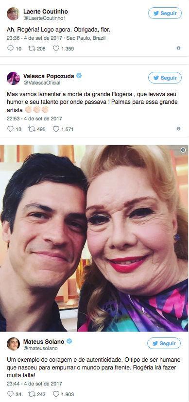 Artistas lamentam morte de Rogéria nas redes sociais (Crédito: Reprodução/Twitter)