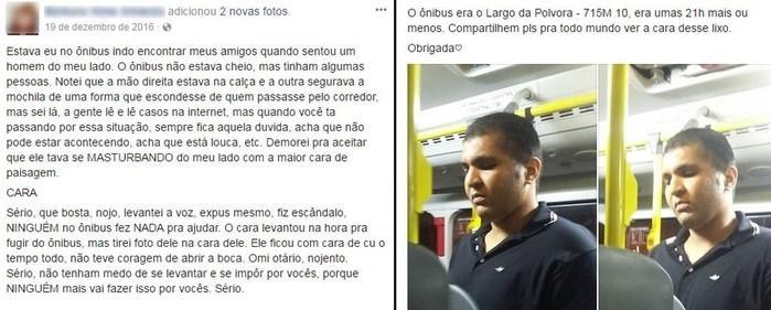 Jovem fez relato de que Diego estava se masturbando em ônibus em dezembro de 2016 (Crédito:  Reprodução/Facebook)