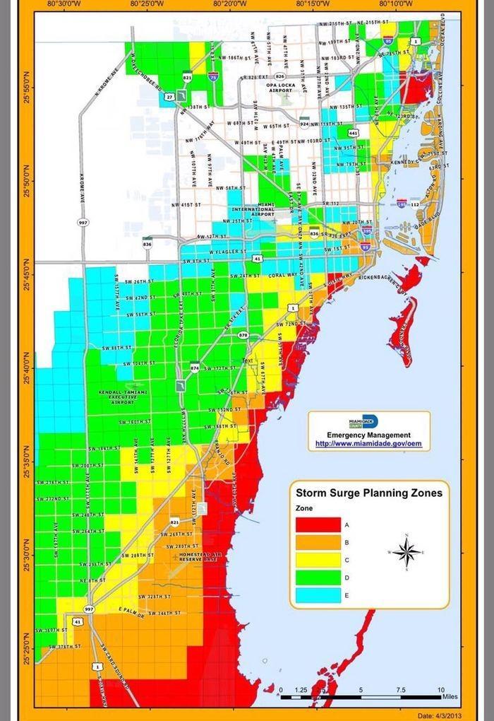 Mapa da evacuação da orla de Miami. Todos os moradores dos prédios de toda essa área em vermelho tiveram que deixar suas residências