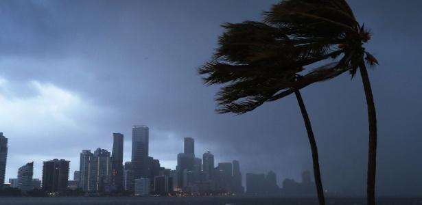Furacão Irma traz chuvas e ventania à costa da Flórida, nos Estados Unidos (Crédito: AFP)