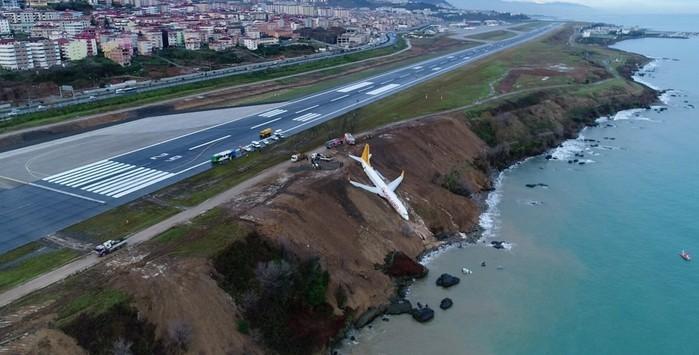Avião pendurado em penhasco após aterrisagem mal sucedida na Turquia (Crédito: Ihlas News Agency)
