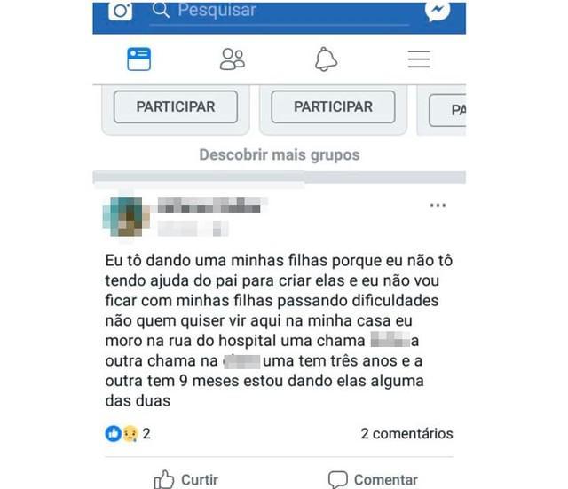 Mulher anunciou doação das filhas no Facebook (Crédito: Reprodução)