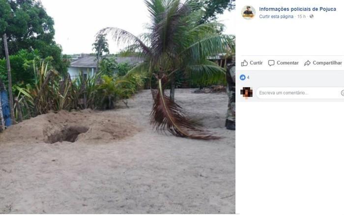 Cova onde casal foi encontrado foi cavada no quintal da casa das vítimas  (Crédito: Reprodução)
