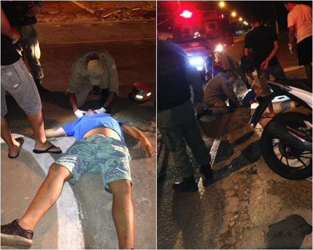 A vítima estava sozinha e foi socorrida pela Polícia Militar