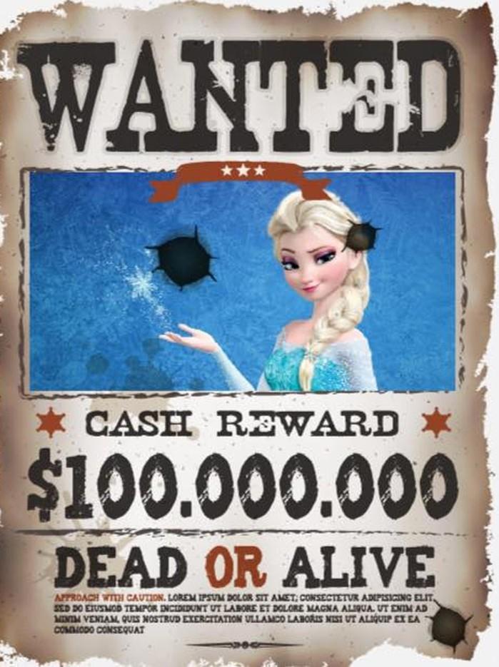 Polícia dos EUA emite cartaz de 'procura-se' para a Princesa Elsa de 'Frozen (Crédito: Reprodução)