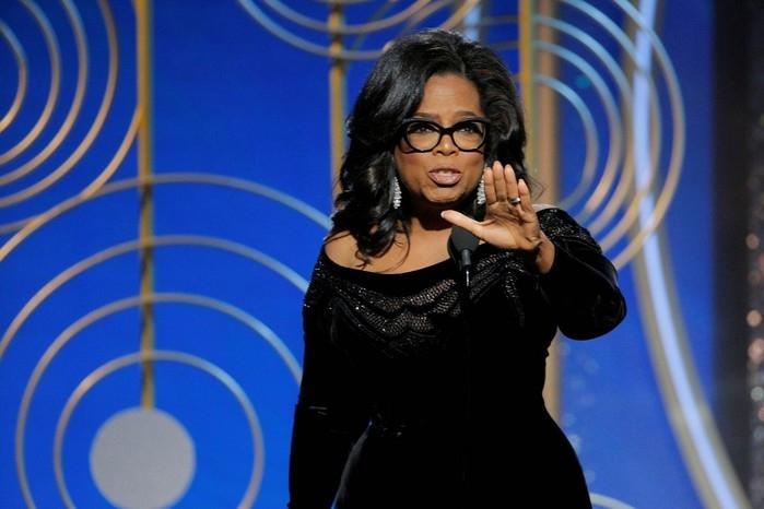 Oprah Winfrey faz um discurso no Globo de Ouro  (Crédito: Paul Drinkwater/NBC via Reuters)