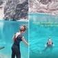 De férias no Peru, Grazi Massafera faz trilha e mergulha em lago