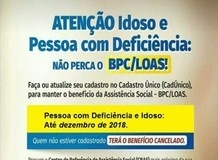 Prefeitura convoca idosos e deficientes para cadastros no CRAS