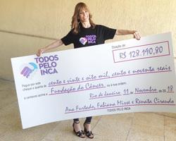 Ana Furtado entrega mais de R$ 120 mil ao INCA