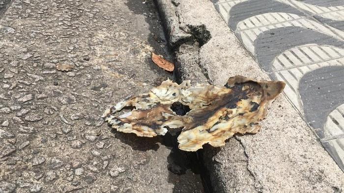 Galão utilizado para transportar combustível foi encontrado derretido (Crédito: Solange Freitas/G1 )