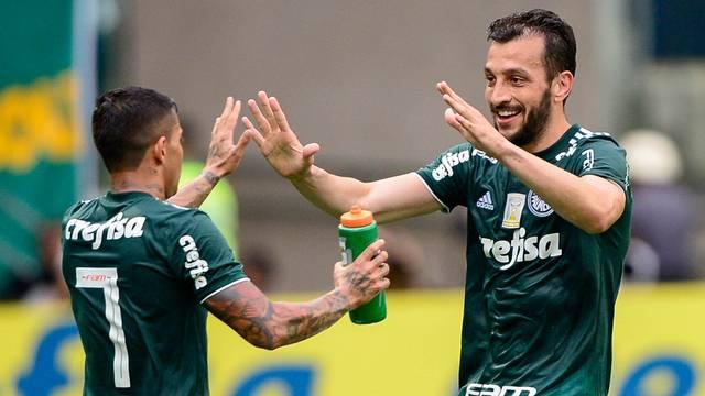 Palmeiras x Vitória - Dudu comemora com Edu Dracena  (Crédito: Renato Pizzutto/BP Filmes))