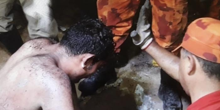 Acusado de realizar assaltos fica preso em galeria durante fuga