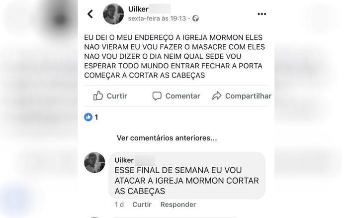 Suspeito de esfaquear fiéis em igreja postou em rede social que faria massacre, em Aparecida de Goiânia (Crédito: Polícia Civil/Divulgação)