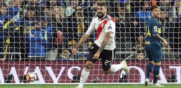 Pratto empatou a partida para o River Plate (Crédito: Rodrigo Jimenez/EFE)