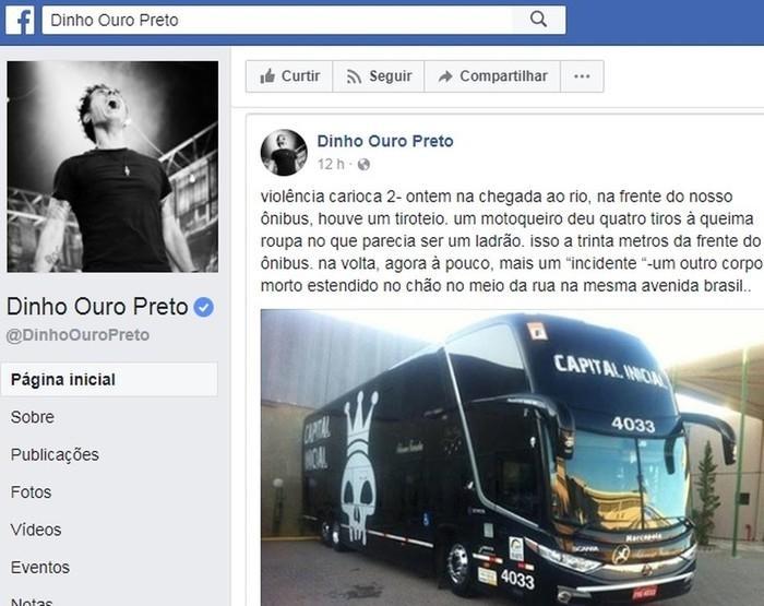 Dinho Ouro Preto relata tiroteio perto de ônibus e assalto ao caminhão da banda  (Crédito: Reprodução )