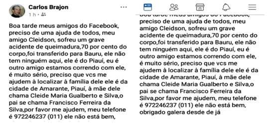 Internauta publica em rede social grave acidente com amarantino