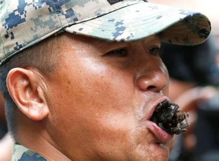 Soldado tailandês devora tarântula viva (Crédito: Reprodução )