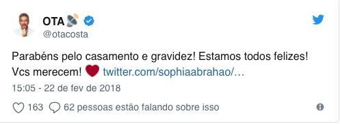 Otaviano Costa entrega suposta gravidez de Sophia Abrahão na web