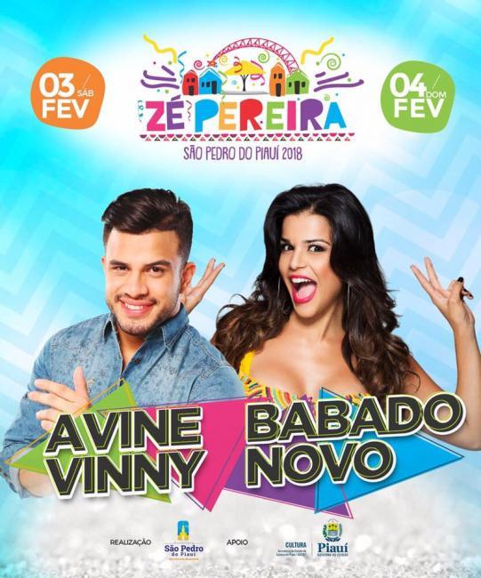 Avine Vinny e Babado Novo animarão Zé Pereira 2018