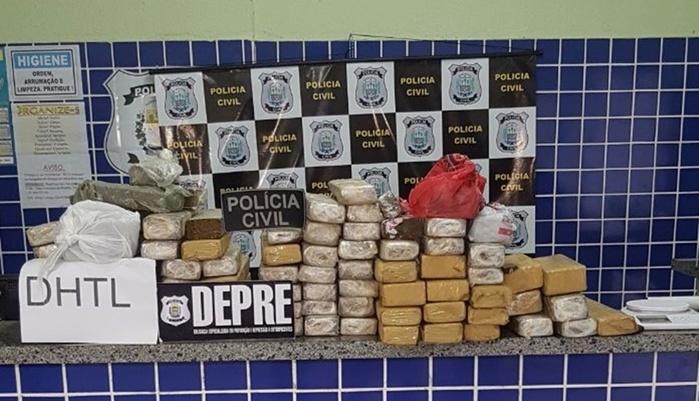 Foi apreendido 100kg de droga (Crédito: Divulgação/Polícia Civil)