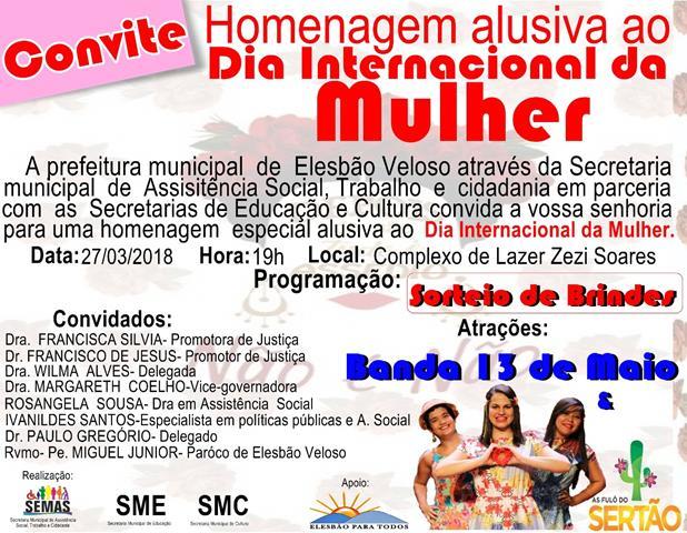 Prefeitura de Elesbão Veloso realizará evento para as mulheres