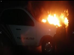Viatura da Polícia Militar é incendiada em Dom Expedito Lopes
