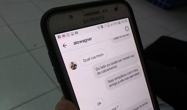 Mensagens marcando o encontro foram entregues para a polícia  (Crédito: Reprodução)