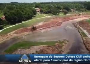 Barragem do Bezerro: Nível das águas já diminuiu 1 metro